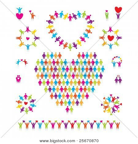 Vector grande conjunto de iconos - love people.