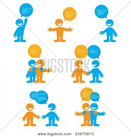 collection of person with bubbles for dialogue. Vector.