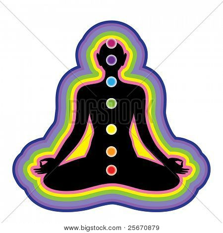 Meditation. Location of the chakras on the human body. Vector