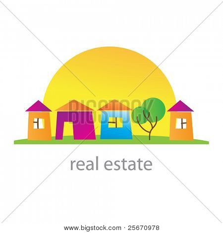 Real estate. Cottage town. Template. Vector.