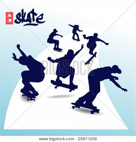 Vector skateboard child silhouette