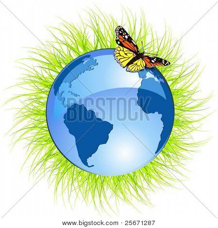 planeta azul y mariposa. concepto de Ecología