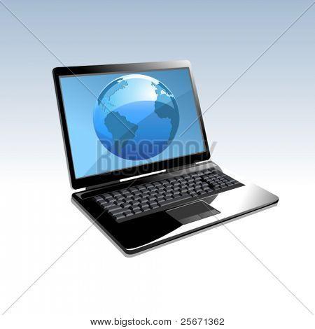 Laptop computer internet icon