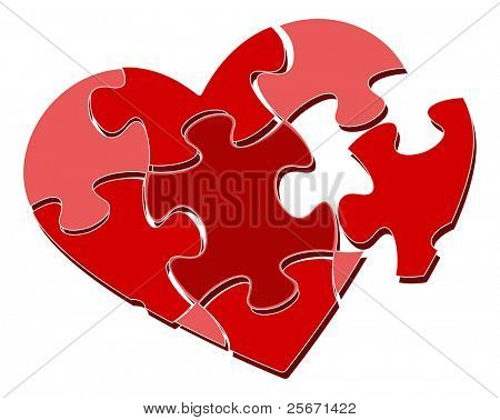 Raster Version. Valentine's heart puzzle
