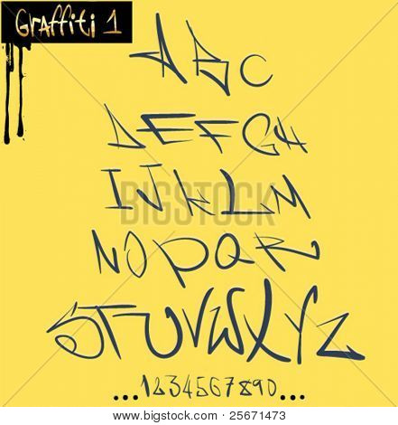 Graffiti font hip hop alphabet