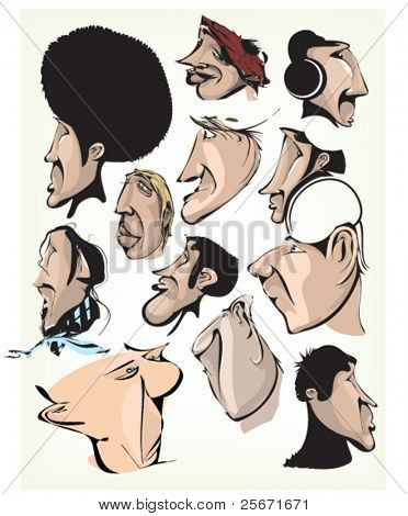 People caricature. Comic person faces graffiti characters