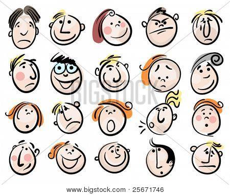 gente de vector de cara de dibujos animados