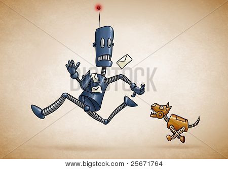 Postman Robot And Mechanical Dog