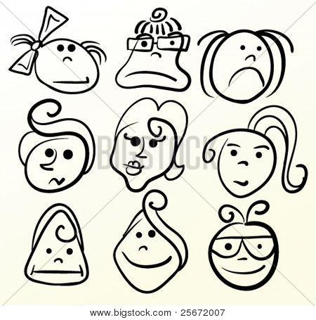 Cartoon vector girl. Face emotion illustration.