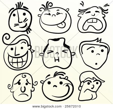 Cartoon vector face. Doodle emotion art.