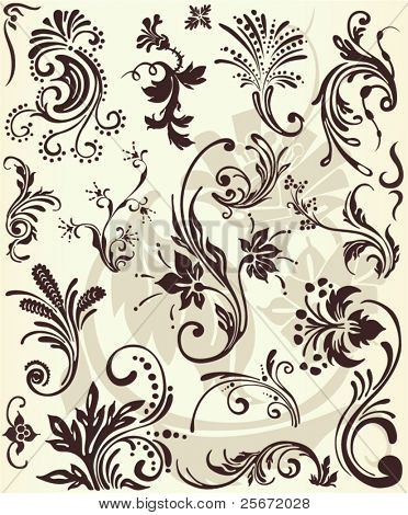 Flower borders vector ornament shapes