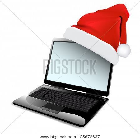 christmas laptop with red santa's hat