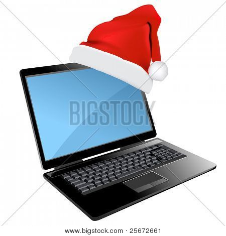 Christmas laptop design. Notebook holiday decoration with red santa's hat