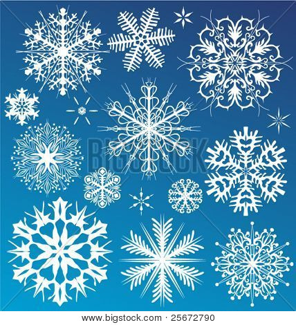 Snowflake vector christmas background. Design collection