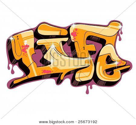 Graffiti text design. Urban art