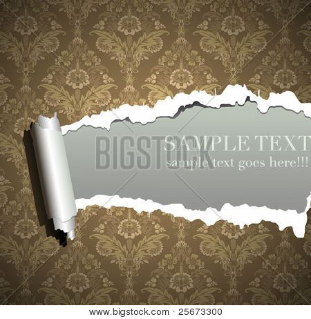 Frame wallpaper torn, vintage baroque background