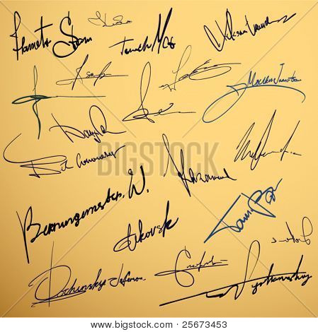 Signature writing design vector collection