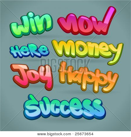 abstract color words: success, happy, money, win, joy