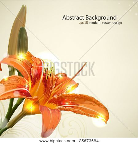 Lily flower abstract vector background, wedding card template