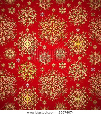 Christmas red background texture. Xmas snowflakes seamless
