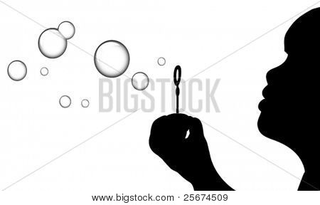A Silhouette of a young girl blowing bubbles