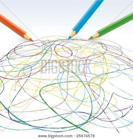 Vetor desenho linhas de lápis de cor