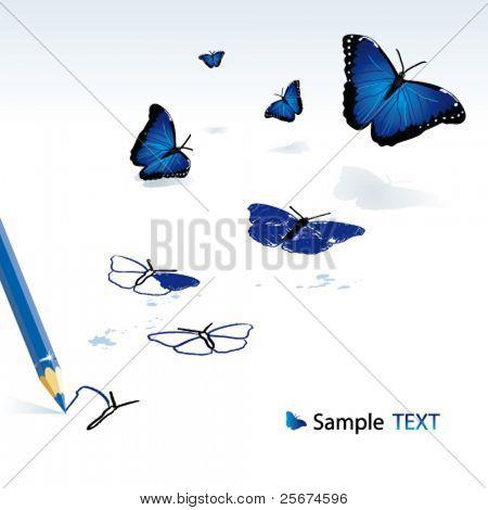 Die Bleistift-Zeichnung-blau-Schmetterlinge