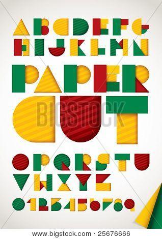 Vector del alfabeto de papel colorido