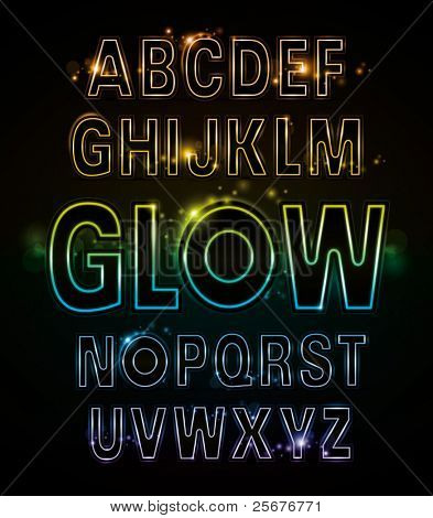 vector of alphabets of glowing neon light