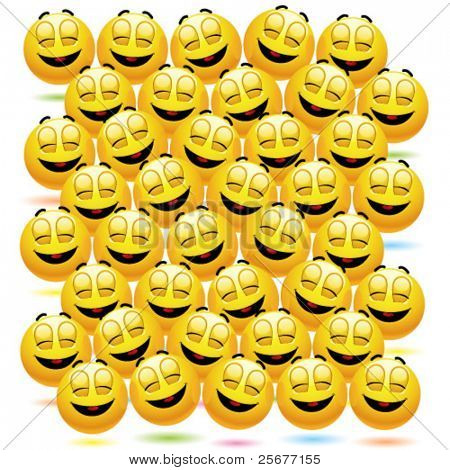 Numerous happy smiling balls as audience