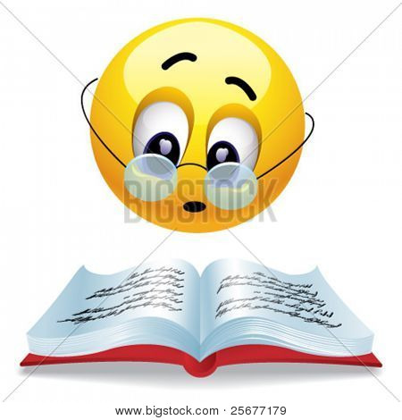 Smiling ball reading book with glasses