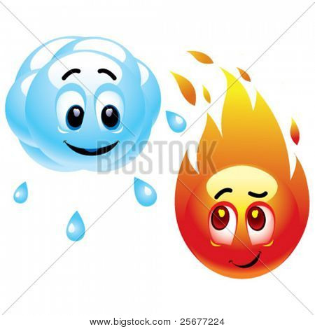 Smiling balls representing raining cloud and fire