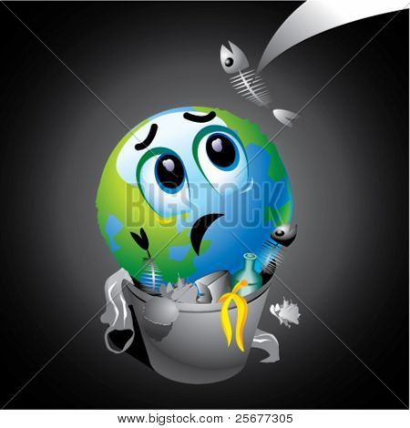 Smiling ball as Earth in trash can