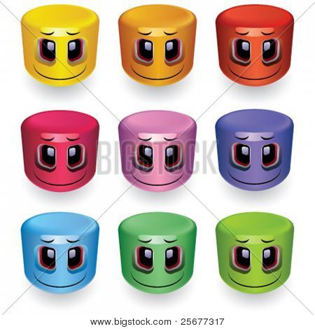 Cylinder shaped smiling balls in different colors