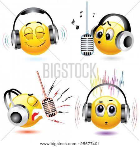 smiling balls listening to different kind of music