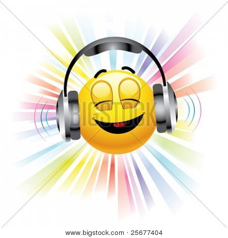 smiling ball listening to music