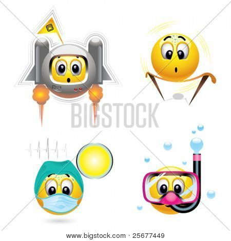 Smiley balls with different occupation