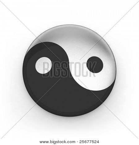 Metallic sing yin yang isolated on white background