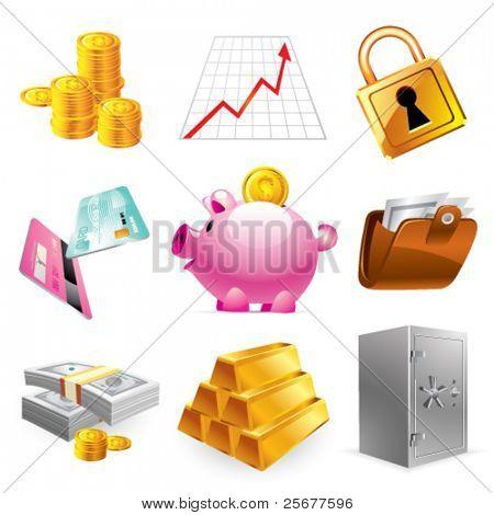 Iconos de banco, finanzas y mercado de valores