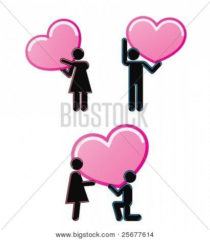 Pictogramas que representan la joven pareja de enamorados