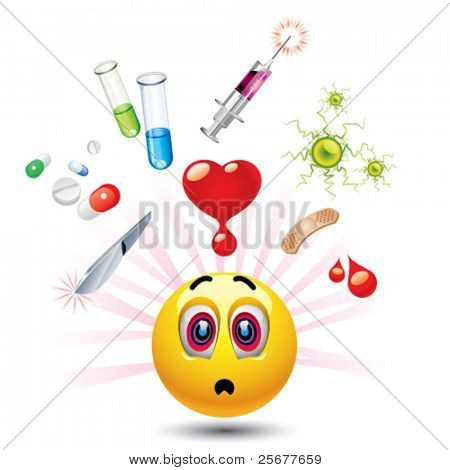 Smiley ball with different symbols of medicine