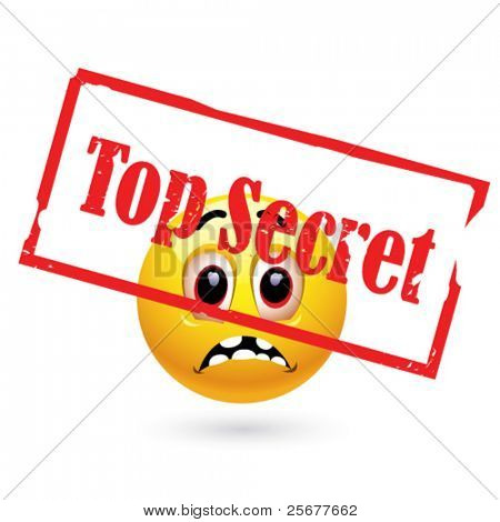 Smiley ball looking at top secret file