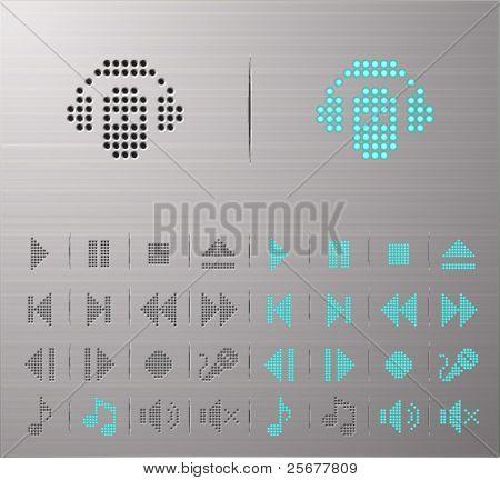 Botones multimedia perforada