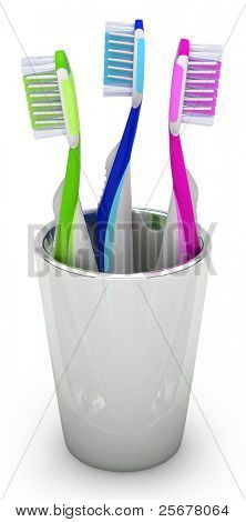 Three toothbrushes in the cup