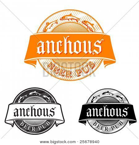 Beer pub emblem (anchovy theme)