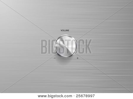 Volume control knob on scratched metal plate (Vector)