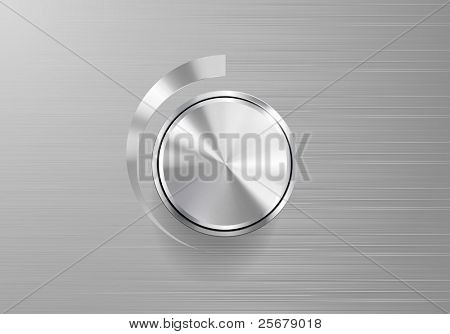 Volume Knob Control Isolated on brushed metal plate (Vector)