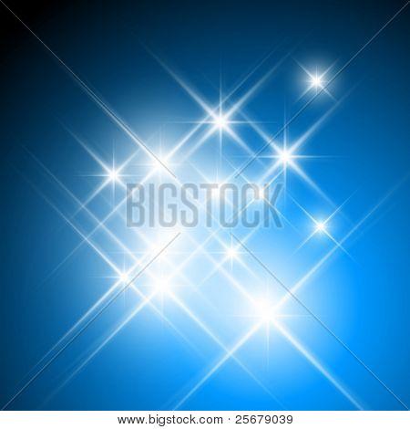 Estrelas cintilantes de vetor em fundo azul escuro