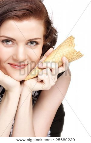 Portrait of young happy woman with ice-cream, isolated