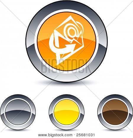 E-mail glossy round web buttons.